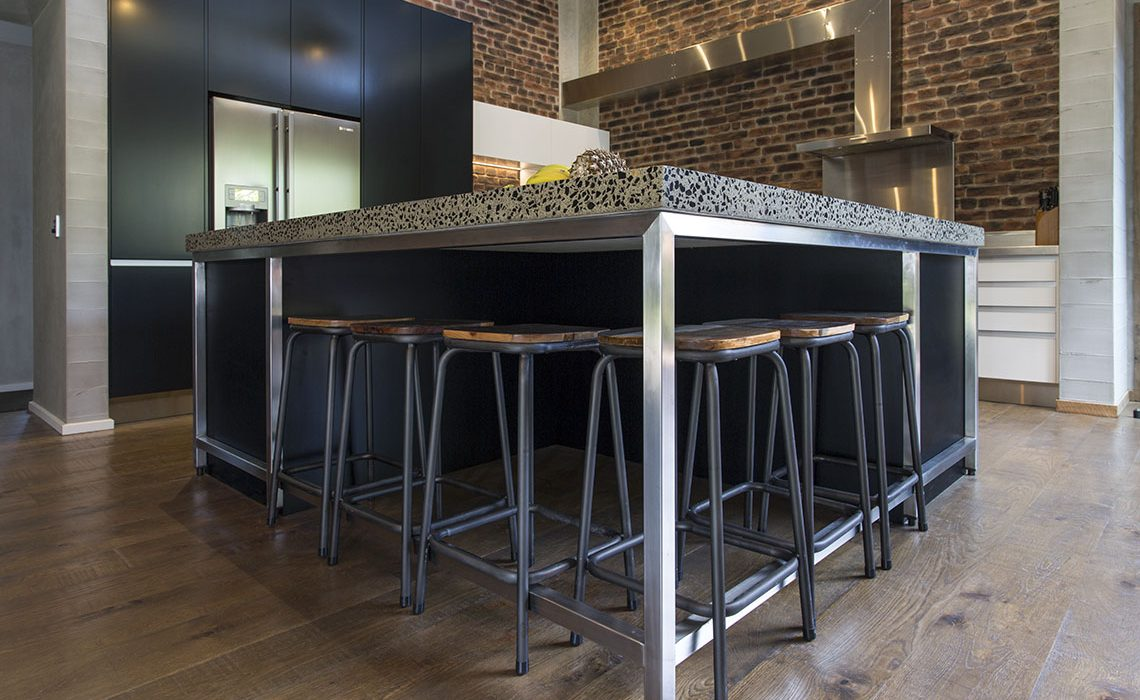 Stainless steel frame kitchen bench