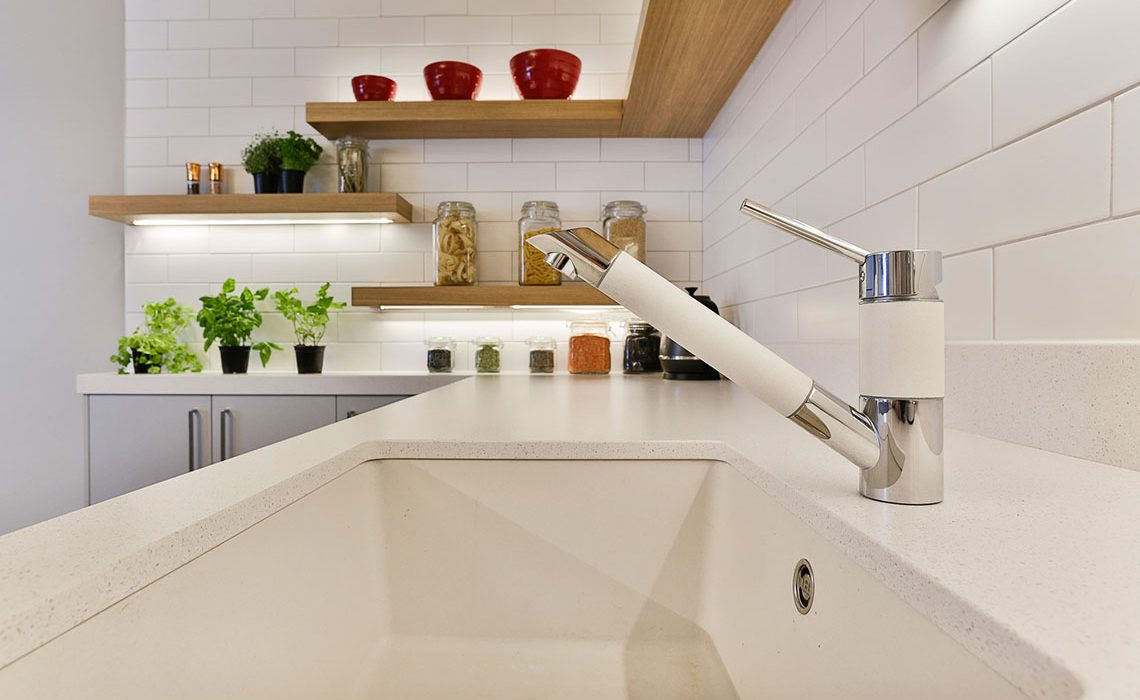 Compact kitchen - maximising space with floating shelves