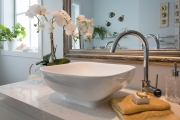 Top mounted vanity bowl on stone benchtop