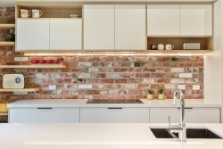 Reclaimed brick feature wall