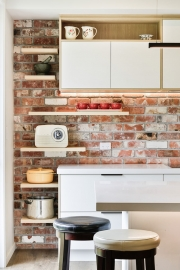 Floating shelves wall feature