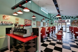 Dining area in the Cruisy Days Diner