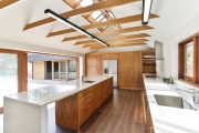Large timber and white kitchen