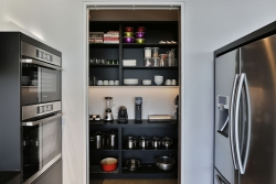 Scullery with black open shelves
