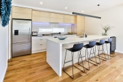 Birch plywood combined with white cabinetry
