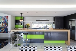 Ultra funky green and black kitchen