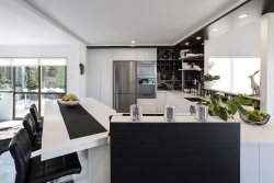 Angled U shaped kitchen