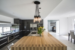 Solid timber raised kitchen benchtop