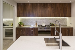 Timber, tile and stone elements harmoniously matched