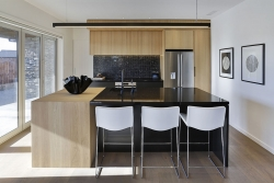 Contemporary kitchen with American white oak veneer