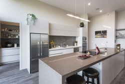 Caesarstone Wild Rice benchtop with waterfall ends