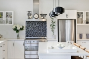 Dark tiled splashback