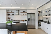 Floating shelves on splashback