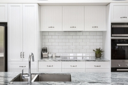 Tongue-and-groove detailed cabinets
