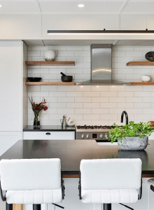 Subway tiles and floating shelves