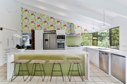 Kitchen under an angled roof