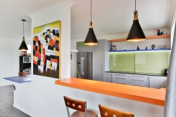 Orange Formica bar top
