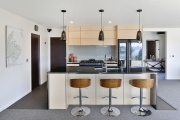 Light timber with black accents