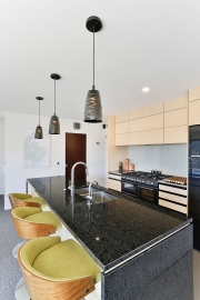 Light timber and black kitchen