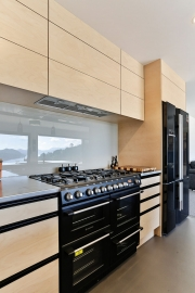Plywood cabinetry with black appliances