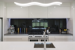 High gloss white and black kitchen