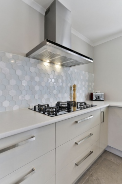 Hexagon tiled splashback