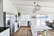 L shaped kitchen with an island