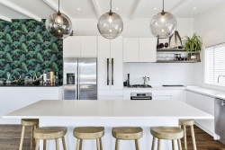 White kitchen with colour and timber elements