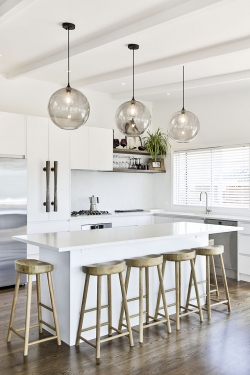 Balinese inspired white minimalist kitchen