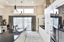 White and black galley kitchen