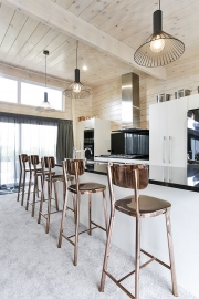 Kitchen with high-pitched ceiling