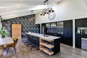Black and white kitchen with colour pops