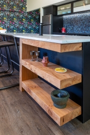 Solid timber display shelves