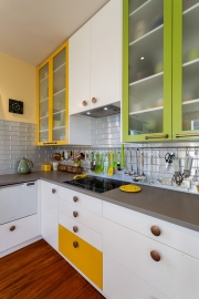 Green yellow and white kitchen