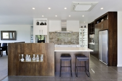 Woodgrain highlights in this modern kitchen