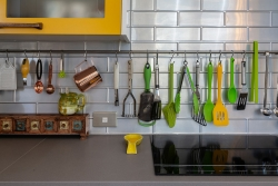 Subway tiles and utensil hooks