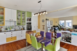 White, green, yellow and purple kitchen