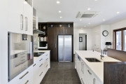 American White Oak - dark stained cabinets
