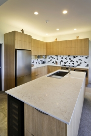 Kitchen island with offset sink for more space