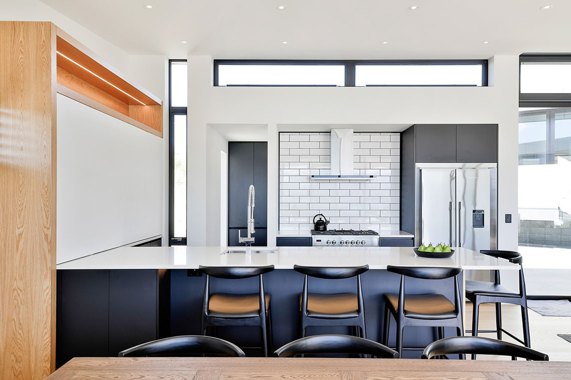 striking black white and timber aesthetic