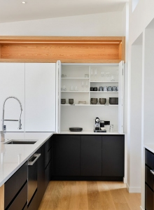 On-bench cupboards - open