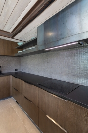Grey tiled splashback