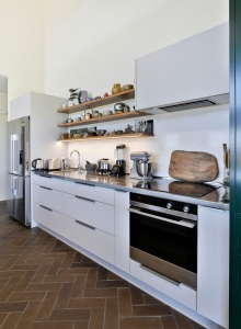 Galley Kitchen - White & Wood
