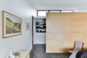 Walk-in wardrobe with room divider