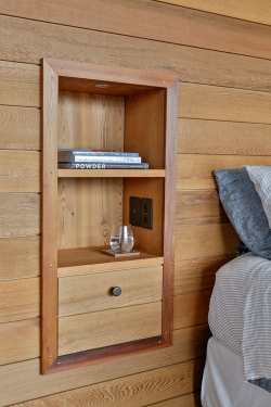 Inset solid timber bathroom shelf