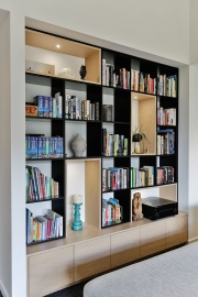 Recessed library shelving