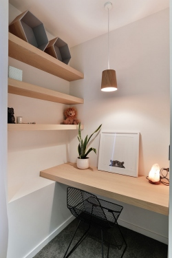 Study nook and floating shelves