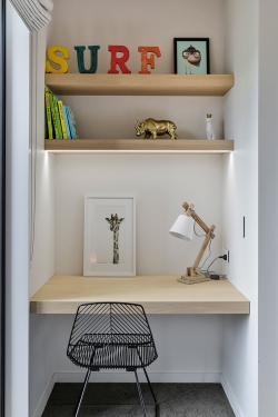 Kids study nook and shelves