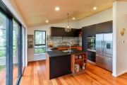 Timber and black retro kitchen