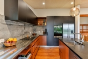 Concrete-look tile splashback